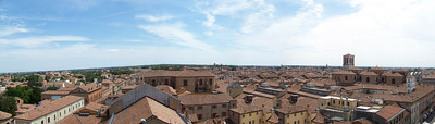 Panorama of Ferrara, Italy from the Castle tower