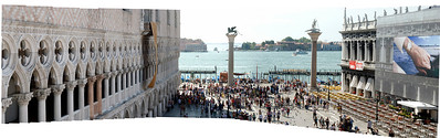 "A panorama I left ""unsquared"" to capture the depth of St. Marks Square, Venice, Italy, in front of the Dodges Palace."