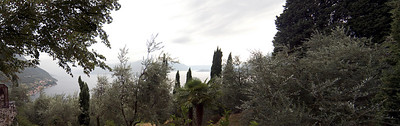 Panoramic view of Lake Como, Italy taken near the castle ruins in Varrena, Italy.