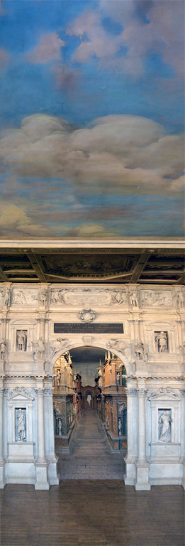 This is a vertical panorama of a slice of the stage and painted ceiling designed by Palladio in Vicenza, Italy.
