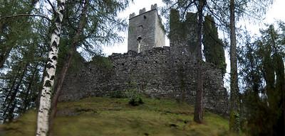 A castle ruin in Varrenna, Italy overlooking Lake Como.
