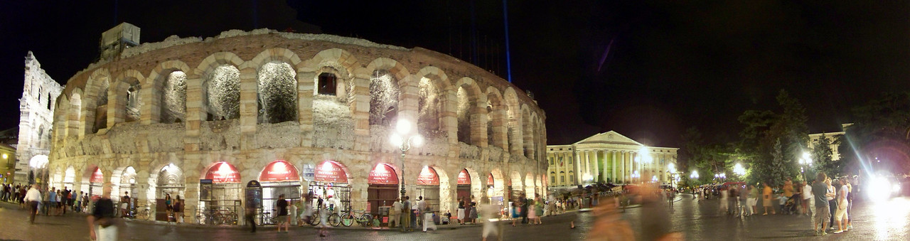 Opera is performed at the Roman arena at Verona, Italy. This was a handheld, in-camera panorama so the stitching is very rough...but it does give the feel of the scene outside the arena after a performance of Aida.
