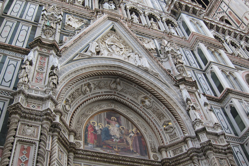 Part of the facade on the Duomo in Florence. The facade was added in the late 19th century.