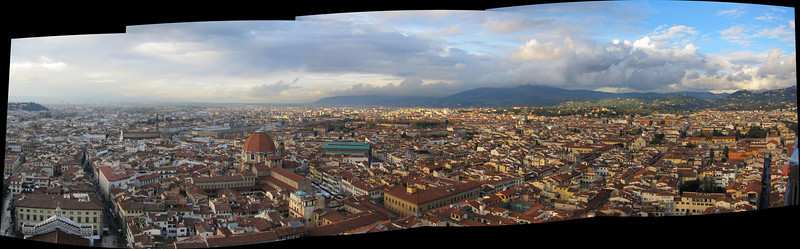 Panorama of Florence, looking northwest from the top of the Duomo.