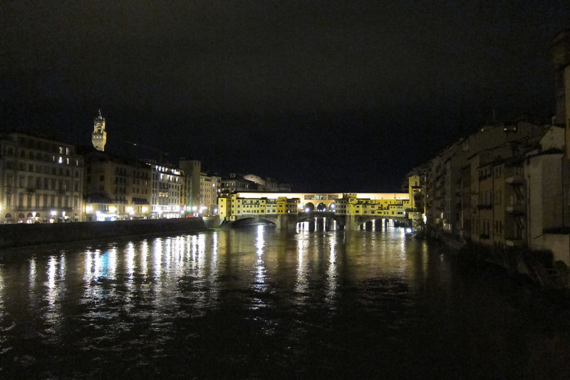 Looking over the Arno toward the Ponte Vecchio in Florence.