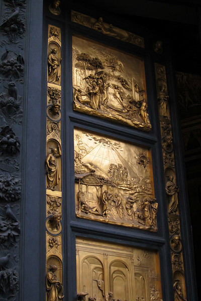 "Doors to the Baptistery in Florence by Ghiberti - Michelangelo called these the ""Doors of Paradise"". Unfortunately, these are reproductions, the originals are in the Duomo Museum in Florence."