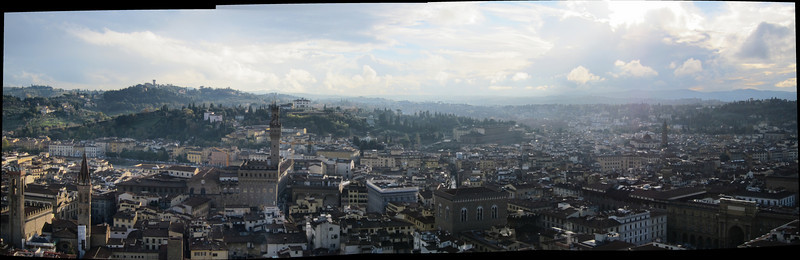 A panorama of Florence, looking south from the top of the Duomo.