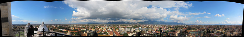 A panorama of Pisa, taken from the top of the Leaning Tower.