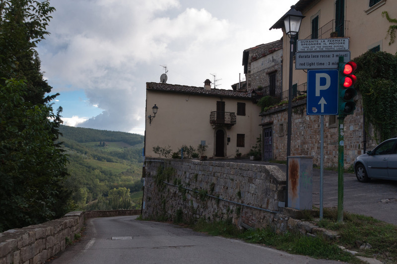 A traffic light controls the one lane road in the mountains above Greve in Chianti, Italy