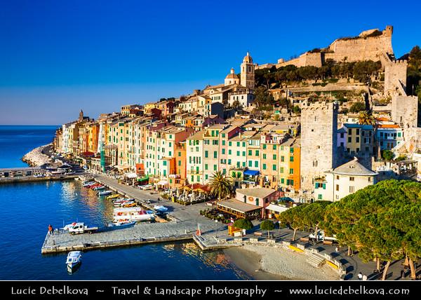 Italy - Liguria Coast - Riviera Ligure - Poets Gulf (Golfo dei Poeti) - Porto Venere - UNESCO World Heritage Site - Beautiful harbor village