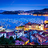 Italy - Liguria Coast - Riviera Ligure - Poets Gulf (Golfo dei Poeti) - Lerici - Largest village on the Gulf of Poets, sits across the bay from Portovenere - at Dusk - Twilight - Blue Hour - Night