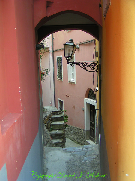 Small walkway in Manarola, Cinque Terre, Italy