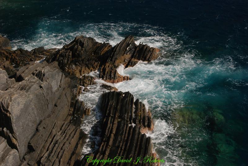 Rocky coastline, Via del Amore, Cinque Terre, Italy
