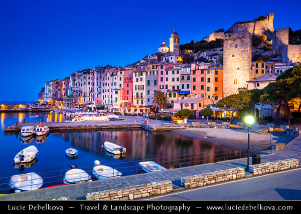 Italy - Liguria Coast - Riviera Ligure - Poets Gulf (Golfo dei Poeti) - Porto Venere - UNESCO World Heritage Site - Beautiful harbor village