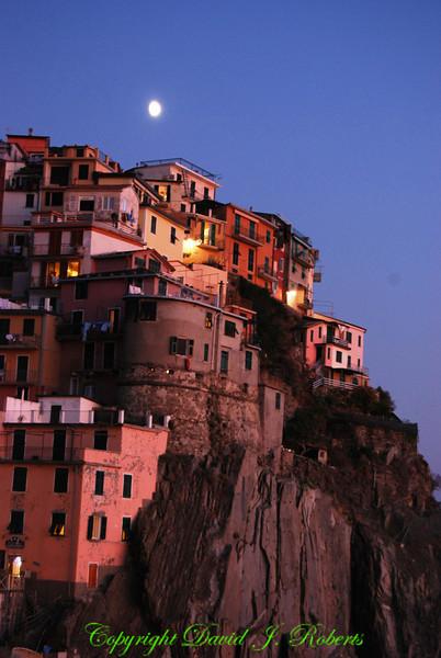 Moonrise over Manarola, Cinque Terre, Italy