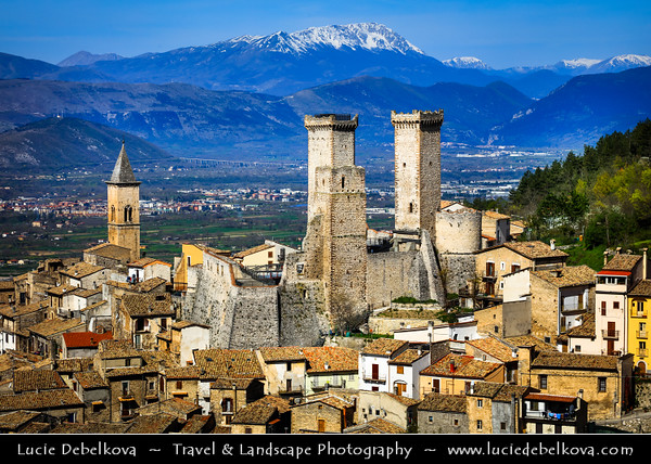 "Europe - Italy - Italia - Abruzzo- L'Aquila Province - Pacentro - Well-preserved historic medieval village in central Italy nominated as one of the ""Borghi più belli d'Italia"" - most beautiful villages in Italy - Colle Castello (Castle Hill,) with Caldora/Cantelmo Castle of Pacentro with remaining three of the four towers"