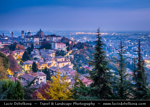 Europe - Italy - Italia - Bergamo - Hidden gem of Lombardy - Historical town with medieval heart on top of hill surrounded by majestic Venetian Walls