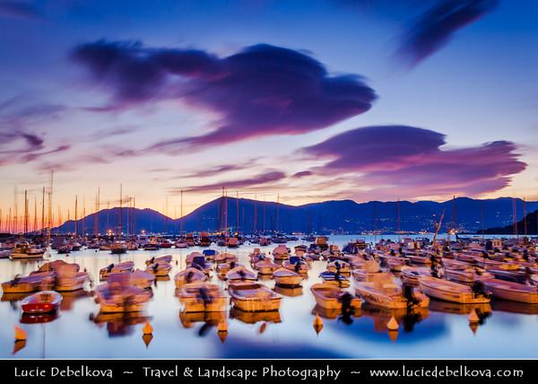 Italy - Liguria Coast - Riviera Ligure - Poets Gulf (Golfo dei Poeti) - Lerici - Largest village on the Gulf of Poets, sits across the bay from Portovenere - at Dusk - Twilight - Blue Hour - Night