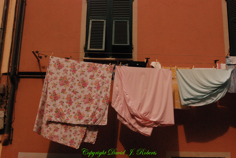 Cloths out to dry, Manarola, Cinque Terre, Italy