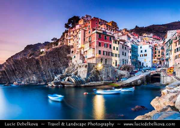 Italy - Liguria Coast - Riviera Ligure - Cinque Terre - UNESCO World Heritage Site - Riomaggiore - One of the 5 villages dating from the early thirteenth century - Known for its historic character & its wine, produced by the town's vineyards