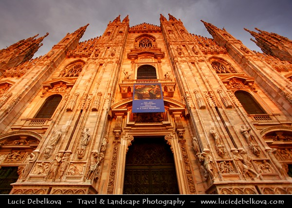 Italy - Lombardy - Milan - Milano - Piazza del Duomo & Milan Cathedral - Duomo di Milano - The fourth largest cathedral in the world & the largest in the Italy with 135 spires - Sunset - Warm Evening Light