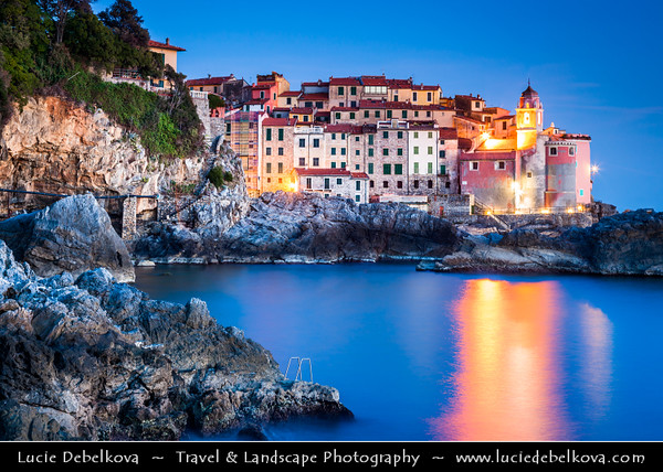 Italy - Liguria Coast - Riviera Ligure - Poets Gulf (Golfo dei Poeti) - Tellaro - Wonderful Traditional Village on shores of Mediterranean sea at Dusk - Twilight - Blue Hour - Night