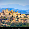 Europe - Italy - Italia - Umbria - Terni Province - Orvieto - Historical town located on flat summit of a large butte of volcanic tuff - Panorama with iconic Cathedral of Orvieto - Duomo di Orvieto - Large 14th-century Roman Catholic cathedral
