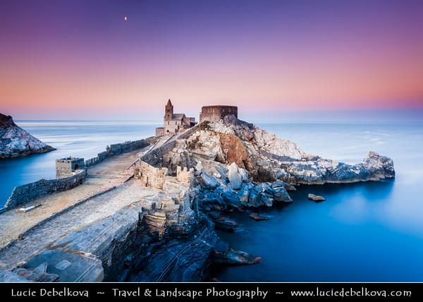 Italy - Liguria Coast - Riviera Ligure - Poets Gulf (Golfo dei Poeti) - Porto Venere - UNESCO World Heritage Site - Beautiful harbor village - Chiesa di San Pietro - Church of St. Peter