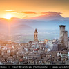 """Europe - Italy - Italia - Abruzzo- L'Aquila Province - Pacentro - Well-preserved historic medieval village in central Italy nominated as one of the """"Borghi più belli d'Italia"""" - most beautiful villages in Italy - Colle Castello (Castle Hill,) with Caldora/Cantelmo Castle of Pacentro with remaining three of the four towers"""