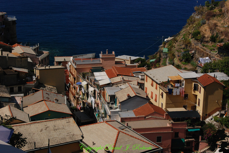 View of the sea above the village of Manarola, Cinque Terre, Italy