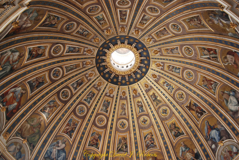 View of beautiful ceiling of St Peters Basilica, Rome Italy