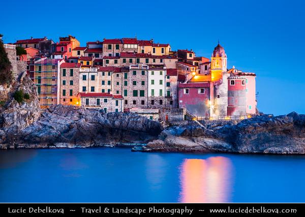 Italy - Liguria Coast - Riviera Ligure - Poets Gulf (Golfo dei Poeti) - Tellaro - Wonderful Traditional Village on shores of Mediterranean sea at Dusk - Twilight - Blue Hour - Night