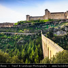 Europe - Italy - Italia - Umbria Region - Province of Perugia - Spoleto - Ancient historical city with Rocca Albornoziana fortress on hilltop, glowering 14th-century former papal fortress
