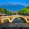 Europe - Kosovo - Prizren - Historic city located on banks of Prizren Bistrica river & on slopes of Šar Mountains - Old Stone Bridge - Ura e gurit - Стари камени мост - Stari kameni most - One of iconic town landmarks