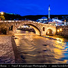 Europe - Kosovo - Prizren - Historic city located on banks of Prizren Bistrica river & on slopes of Šar Mountains - Old Stone Bridge - Ura e gurit - Стари камени мост - Stari kameni most - One of iconic town landmarks  at Dusk - Twilight - Blue Hour - Night