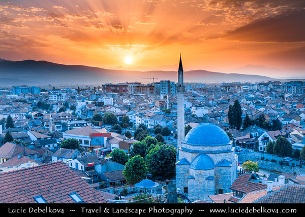 Europe - Kosovo - Prizren - Historic city located on banks of Prizren Bistrica river & on slopes of Šar Mountains - Old town panorama with Sinan Pasha Ottoman Mosque at Sunset