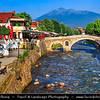 Europe - Kosovo - Prizren - Historic city located on banks of Prizren Bistrica river & on slopes of Šar Mountains - Old Stone Bridge - Ura e gurit - Стари камени мост - Stari kameni most - One of iconic town landmarks