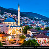 Europe - Kosovo - Prizren - Historic city located on banks of Prizren Bistrica river & on slopes of Šar Mountains - Old town panorama with iconic Sinan Pasha Ottoman Mosque at Dusk - Twilight - Blue Hour - Night