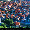 Europe - Kosovo - Prizren - Historic city located on banks of Prizren Bistrica river & on slopes of Šar Mountains - Old town panorama with multiple Ottoman Mosque