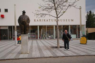Interesting characters outside the Karikaturmuseum (Caricature Museum) in Krems