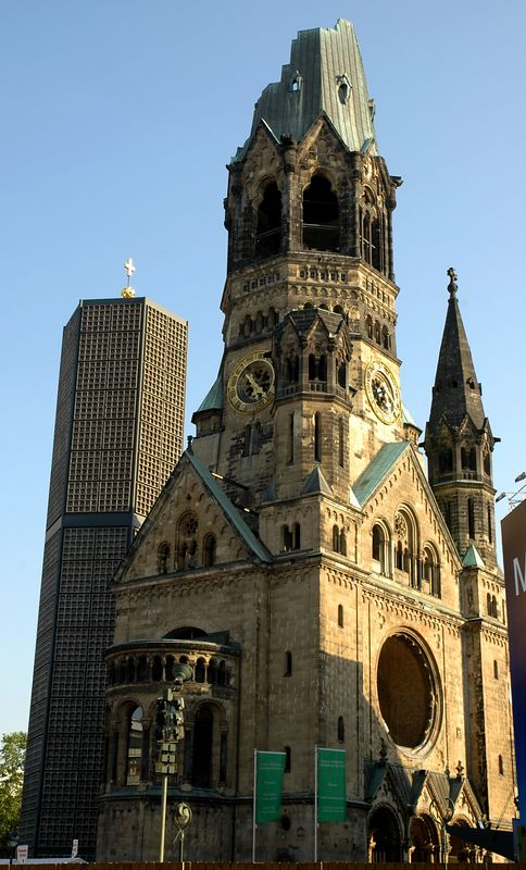 Kaiser-Whilhelm-Gedachtnis-Kirche  - This church located in the west center of Berlin was built in 1895 and bombed in 1943 during WWII.