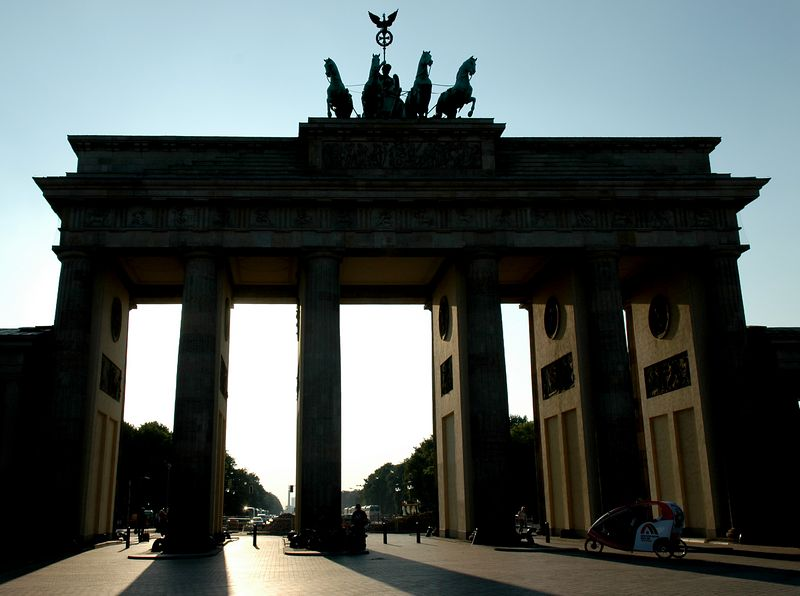 Brandenburg Gate, Berlin, Germany. This gate sits on the border between East and West Berlin.