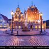Europe - Latvia - Riga - Rīga - Capital and largest city of Latvia - Riga's historical centre - UNESCO World Heritage Site - House of the Brotherhood of Blackheads at Dusk - Twilight - Blue Hour - Night