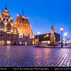 Europe - Latvia - Riga - Rīga - Capital and largest city of Latvia - Riga's historical centre - UNESCO World Heritage Site - House of the Brotherhood of Blackheads at Dusk - Twilight - Blue Hour - Night