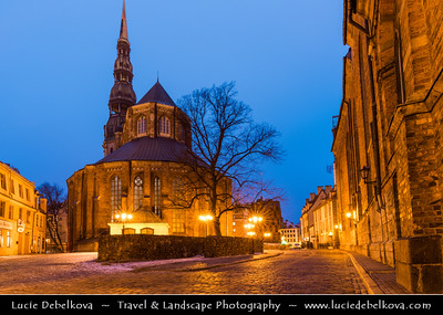 Europe - Latvia - Riga - Rīga - Capital and largest city of Latvia - Riga's historical centre - UNESCO World Heritage Site - St. Peter's Church - Svētā Pētera Evaņģēliski luteriskā baznīca - Evangelical Lutheran Church of Latvia at Dusk - Twilight - Blue Hour - Night