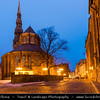 Europe - Latvia - Riga - Rīga - Capital and largest city of Latvia - Riga's historical centre - UNESCO World Heritage Site - St. Peter's Church - Svētā Pētera Evaņģēliski luteriskā baznīca - Evangelical Lutheran Church of Latvia at Dusk - Twilight - Blue Hour - Night