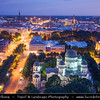 Europe - Latvia - Riga - Rīga - Capital and largest city of Latvia - Riga's historical centre - UNESCO World Heritage Site - Russian Orthodox Cathedral of the Birth of Christ & City Skyline along the river Daugava flowing into Gulf of Riga -  Dusk - Twilight - Blue Hour - Night