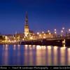 Europe - Latvia - Riga - Rīga - Capital and largest city of Latvia - Riga's historical centre - UNESCO World Heritage Site - St Peters Church & City Skyline along the river Daugava flowing into Gulf of Riga