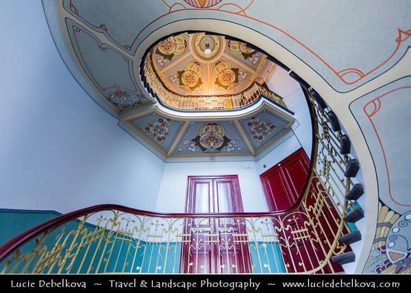 Europe - Latvia - Riga - Rīga - Capital and largest city of Latvia - Riga's historical centre - UNESCO World Heritage Site - Staircase in Riga Art Nouveau Museum