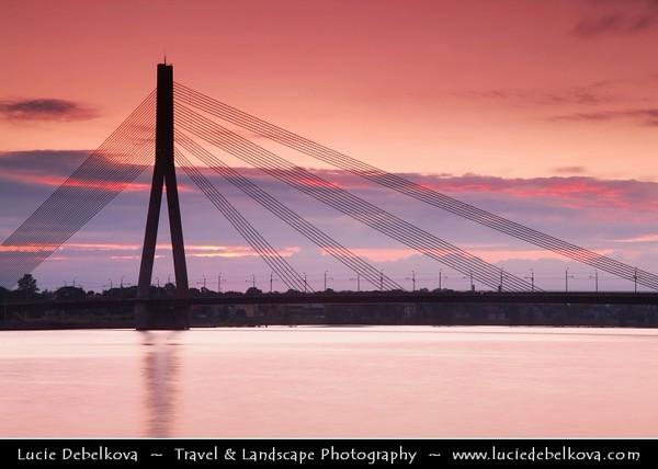 Europe - Latvia - Riga - Rīga - Capital and largest city of Latvia - Riga's historical centre - UNESCO World Heritage Site - City Skyline along the river Daugava flowing into Gulf of Riga